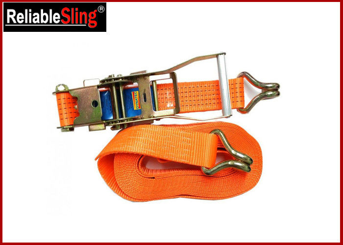 5 Ton 10m Double j hook lashing tie down straps for trucks , Lashing ratcheting strap